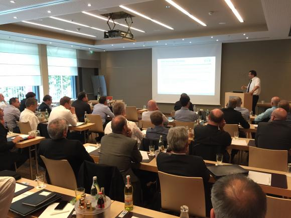 Mr. Hänel, System and Tool Manager, making one of his presentations during the KNX Technology Day