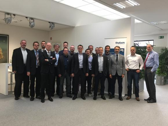 the representatives of the KNX Association together with the KTB core members from companies like: eElectron, Zennio, Intesis, Tapko, Weinzierl, Gewiss, Vimar, Elsner, Albrecht Jung, Gira, Siemens, SBT, ABB Stotz, Theben, Hager, Busch Jaeger, Merten, Feller, Schneider, Elsner and INSTA. The KTB meeting was kindly hosted by Theben.