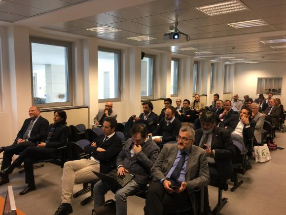 - The audience of KNX Italian manufacturers listening to the presentations on KNX Secure, ETS Inside and KNX IoT